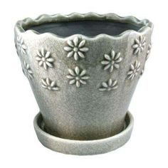 Trendspot 9 in. Taupe Embossed Floral Ceramic - The Home Depot Ceramic Planters, Ceramic Clay, Ceramic Pottery, Planter Pots, Planter Accessories, Old Time Pottery, Bottle Art, Potted Plants, Emboss