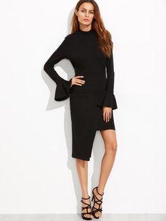 Black Open Back Bell Cuff Asymmetric Wrap Dress - Zooomberg