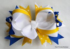 Blue, white, yellow boutique hair bow, girls, baby, toddler, hair accessory, stacked hair bows, via Etsy