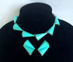 Mid Century Turquoise Lucite Necklace and by WhirleyShirley