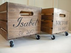 Farmhouse Personalized Wooden Crate With Industrial Caster Wheels Free Shipping…