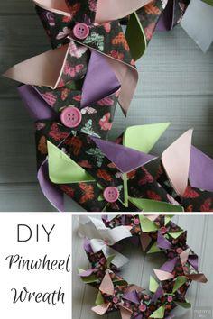 DIY Pinwheel Wreath - Craft tutorial on how to make a DIY Pinwheel Wreath
