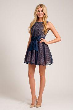 Navy & Cream Lace Overlay Bow Waist Prom Dress