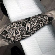 Rose Flowers Power Last Name Mens Script Forearm Tattoo Design Ideas