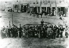 Volunteer Fire Department posing at Campau Square - c. 1860