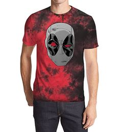 eca188a3a74 Amazon.com - Marvel Deadpool 2 Head Logo Men s Red Black Wash T-Shirt  (X-Large)