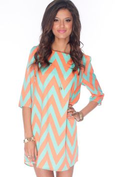 Zazie Shift Dress in Orange and Aqua :: tobi