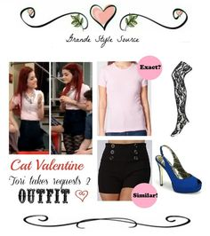 Requested: Cat Valentine 'Tori Takes Requests 2' Outfit Re-creation!  Top in Light Pink  Shorts  Tights in Black  Shoes    Requested by ANON.  Made by Katelyn! :)