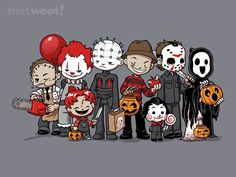 Trick or Treat of Horror - by DoOomcat Available for ShirtWoot from for a limited time only. Horror Cartoon, Horror Movies Funny, Horror Movie Characters, Horror Icons, Classic Horror Movies, Scary Movies, Comedy Movies, Halloween Horror, Halloween Art