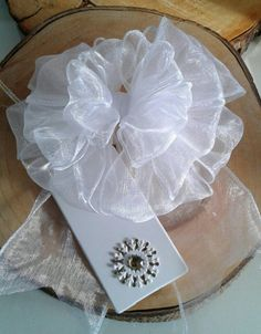 White Ribbon Gift Bow with Tag Large Gift Topper Decorative