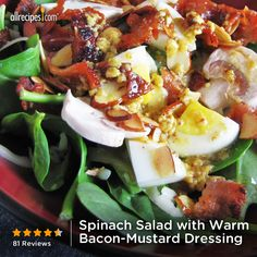 "Spinach Salad with Warm Bacon-Mustard Dressing | ""AMAZING and in my opinion, the way the dressing should taste!"""