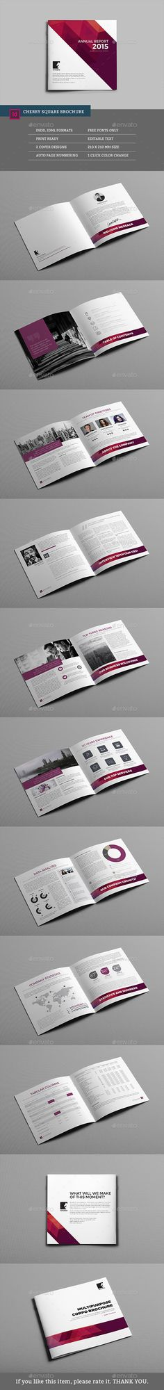 Buy Cherry Square Multipurpose Brochure by graphix_shiv on GraphicRiver. Cherry Square Multipurpose Brochure – Features Cherry Square Multipurpose Brochure Template that is super simple to e. Bi Fold Brochure, Brochure Layout, Brochure Template, Corporate Brochure, Business Brochure, Page Layout Design, Book Layout, Graphic Design Brochure, Booklet Design