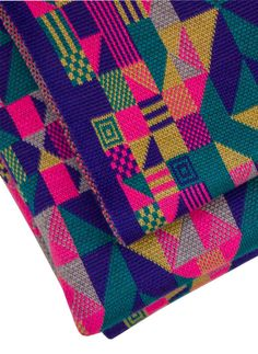 Luxury machine knitted geometric design merino pram/buggy blanket in fluoro colourway