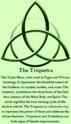 The Triquetra: The Triple Moon is used in Pagan and Wiccan teachings. It represents the threefold nature of the Goddess: As maiden, mother and crone. The Triquetra symbolizes the three faces of the Goddess, balance of the Mind, Body and Spirit. The circle Book Of Shadows, Witchcraft, Wiccan Spells, Pagan Witch, Spelling, Chakra, Tarot, Body Art, Mindfulness