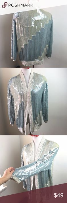 """Vintage 80s Judith Ann Sequin Pastel Silk Jacket L Make this yours!  Vintage 80s Glam! Iridescent light blue and white sequins Cardigan/Jacket w/ shoulderpads. needs repair! Spilt on seam on both sides- please see pics! no stains.  Tag Size: Women's Large Chest:  40"""" Length: 26""""  About the WaterlooSunsetSales Shop:  A selection of """"almost new"""" modern and vintage clothing, accessories & other fun stuff. Vintage Sweaters Cardigans"""