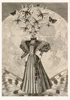 Surreal Collage Art Moth and Moon Goddess #surrealart #collageart #collageprint #surrealism #moonart #mothart #morphauna