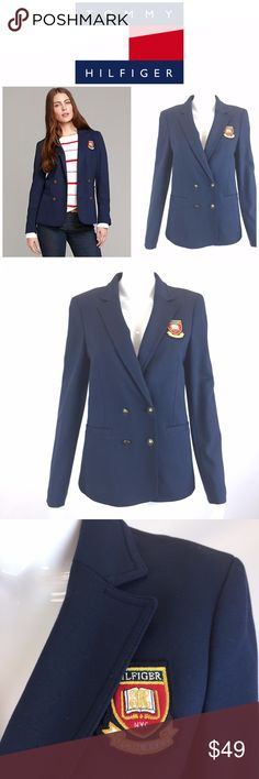 """Tommy Hilfiger Navy Schoolboy Blazer Sz 10 Crest *  Tommy Hilfiger Navy 4 Button Schoolboy Blazer; Women's Size 10  * Smartly styled in a smooth knit—this blazer feels as good as it looks. Our heritage patch and crested buttons add a touch of legacy luxe.  * Please see below for measurements; all measurements taken with garment lying flat.  Please see all photos for complete condition assessment. Shoulder to Shoulder: 16"""" Armpit to Armpit (Bust): 22"""" Waist: 16"""" Overall Length: 27"""" Sleeve…"""