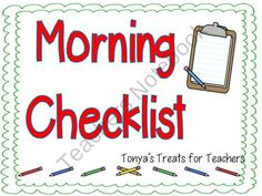 Editable Morning Checklist product from Tonyas-Treats-4-Teachers on TeachersNotebook.com