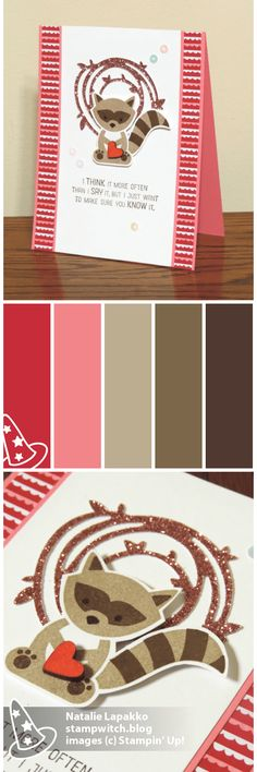 Valentine by Natalie Lapakko featuring Foxy Friends stamps and Sending Love DSP from Stampin' Up! Color inspiration: Real Red, Flirty Flamingo, Crumb Cake, Soft Suede, and Early Espresso.