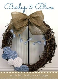 Cheap & Easy Burlap And Scrap Beachy Blues Wreath (w/DIY Crafted Fabric Flowers & Bunting)