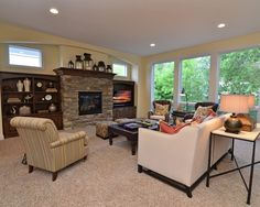 Traditional Living Room Built In Bookcase Design, Pictures, Remodel, Decor and Ideas Exposed Brick Fireplaces, Fireplace Windows, Stacked Stone Fireplaces, Fireplace Built Ins, Home Fireplace, Fireplace Remodel, Fireplace Ideas, Gas Fireplaces, Fireplace Mantels