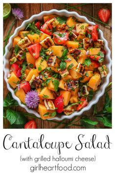 This cantaloupe salad is sweet, savoury, refreshing and delicious! With the addition of grilled halloumi cheese and fresh lime juice, it makes for an easy summer salad that's perfect to go alongside a barbecue or picnic! #cantaloupesalad #cataloupemintsalad #cantaloupesaladwithlime #summersalad #melonsalad #fruitsalad #saladwithcantaloupe Cantaloupe Salad, Melon Salad, Grilled Halloumi, Grilled Fruit, Easy Summer Salads, Summer Recipes, Salad Recipes, Melon Recipes, Vegan Recipes Easy