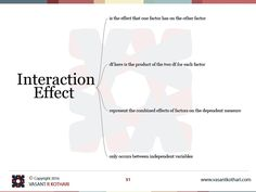 The results from a Two Way ANOVA will calculate  Main Effect  Interaction Effect
