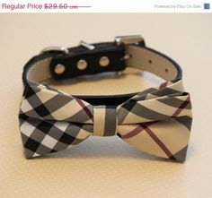 Plaid Burly wood bowtie Dog Bow Tie with high quality black leather collar, , Chic Dog Bow tie, Wedding Dog Collar