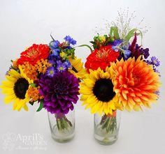 #colorful #bridesmaids #bouquets Flowers by April's Garden in Durango, CO http://www.durangoflorist.com/ #wedding