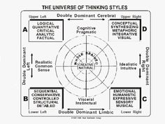 The HBDI relates to how the brain works. It has proven quite useful in corporate culture, fostering communication between people with different mental preferences. When these differences in workers are brought together, head butting is decreased and teamwork is enhanced. Bringing all these workers together with different primary brain quadrants can be thought of as a composite whole brain. A synergy takes place and a much fuller potential in the workplace is realized.