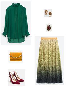Green Blouse+metallized midi pleated skirt+burgundy pumps+mustard clutch+gold jewelry. Fall Morning Wedding Outfit 2016. Blusa verde+falda midi plisada metalizada+zapatos de tacón burdeos+clutch mostaza+joyas doradas. Outfit para una Boda de mañana, Otoño 2016