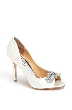 Badgley Mischka 'Buzz' Pump | Sparkling crystals add opulent Art Deco-inspired glamour to a peep-toe pump fashioned from lustrous satin.