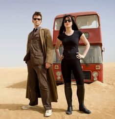 """Promotional still of David Tennant (the Tenth Doctor) & Michelle Ryan (Lady Christina de Souza), from the April 2009 'special' episode """"Planet of the Dead""""."""