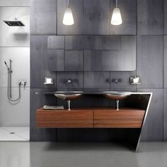 contemporary bathroom...like the grey theme