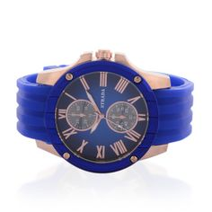 Give your personal style the time it deserves with this STRADA Japanese Movement Collection blue face watch. With blue silicone strap and rose gold ion plated on stainless steel dial, this ring makes this versatile ticker fun and functional. Discover an easygoing finish to casual looks, a classy accent to smart attire or both! Fee Shipping Gift Box