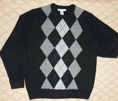 Black/Gray ARGYLE Golf Sweater Crew Neck LS- Soft Acrylic size M Geoffrey Beene #GeoffreyBeene #Crewneck