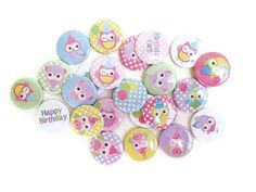 Owl Pins - Birthday Pins - Set of 24 Pinback Buttons - Birthday Girl Party Favors. $8.50, via Etsy.