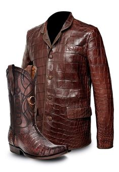 Alligator jacket and boots for sale Mens Leather Coats, Best Leather Jackets, Men's Leather Jacket, Brown Leather Boots, Mens Boots Fashion, Leather Fashion, Brown Dress Boots, Estilo Country, Boots For Sale