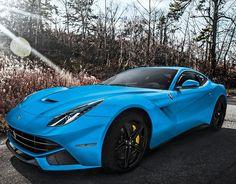Stunning shot of a blue Ferrari F12 Berlinette by Derek Walker Photography #CarFlash
