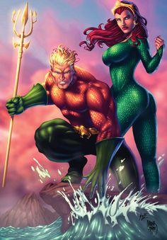 Aquaman and Queen Mera artwork by Marcio Abreu 7 colors by Knyt Crawlr. Marvel Dc Comics, Aquaman Dc Comics, Dc Comics Superheroes, Superhero Villains, Dc Comics Characters, Dc Comics Art, Comics Girls, Dc Heroes, Comic Book Heroes