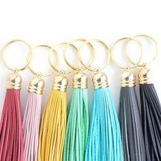 Mustard Yellow Leather Tassel Keychain. Sweet by DearMushka