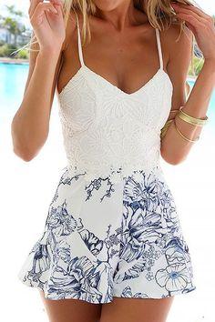 Print Crochet Flower Spliced Romper: Jumpsuits & Rompers   ZAFUL #summerdresses