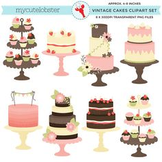 Classic Vintage Cakes Clipart Set  clip by mycutelobsterdesigns