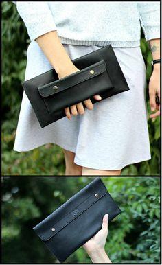 Embrayage de cuir véritable pour femme - pochette en cuir - pochette en cuir faits à la main - Clutch Wallet - Tan Leather Clutch - unisexe embrayage - embrayage