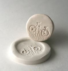 Mini Bicycle Stamp in Clay -- Tool for Polyclay, Metal Clay, PMC