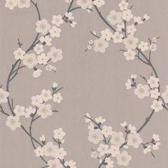 Superfresco Taupe/Charcoal Cherry Blossom Wallpaper- at Debenhams.com