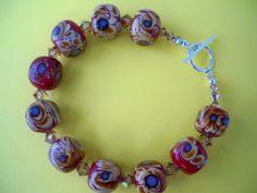 LampworkSwarovski Crystal and Sterling Bracelet by fyfe1819, $22.00