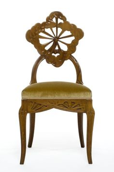 """Aux Ombelles"" Émile Gallé (1846-1904) Carved Mahogany with Upholstered Seat/Tallada en caoba con asiento tapizado. Nancy, France. Circa 1900. Art Nouveau"