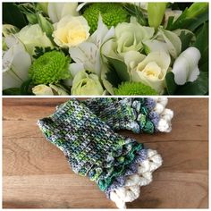 Inspired by this gorgeous floral centrepiece, I created these beautiful fingerless mitts to celebrate all the greenery lovers.
