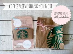 Coffee Sleeve Thank You Note - Gift Card Holder! For Swim Instructor!